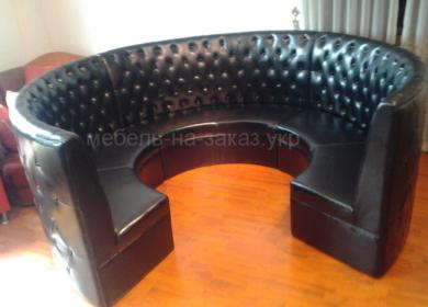 кругый диван честер черный