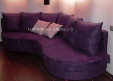 сиреневый радиусный диван