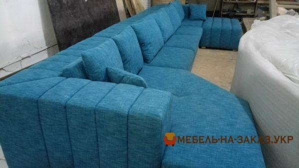 синий модульный большой диван