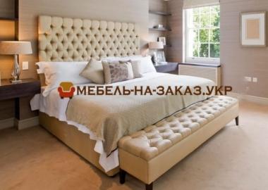 двойная кровать с мягким изголовьем на заказ в Киеве
