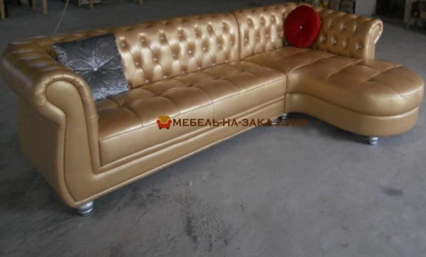 угловой диван на заказ рыжий