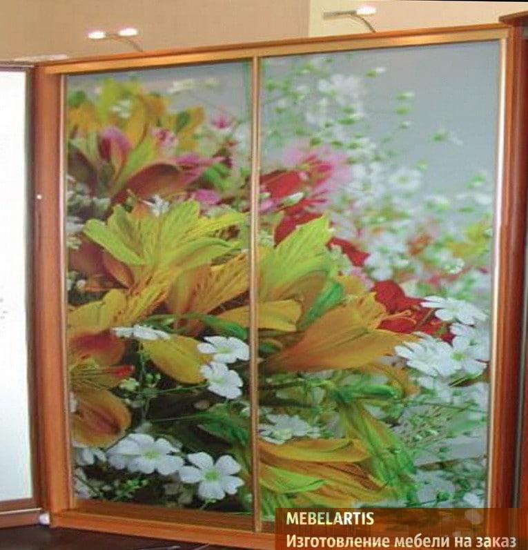 шкаф двух дверный с цветами для детей
