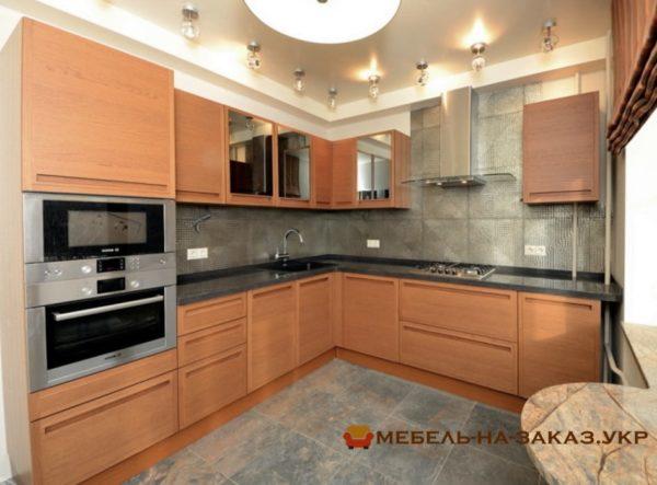 оранжевая угловая кухня на заказ