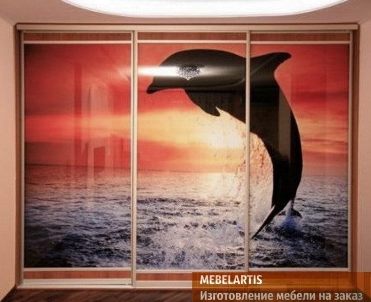 шкаф в детскую с дельфином