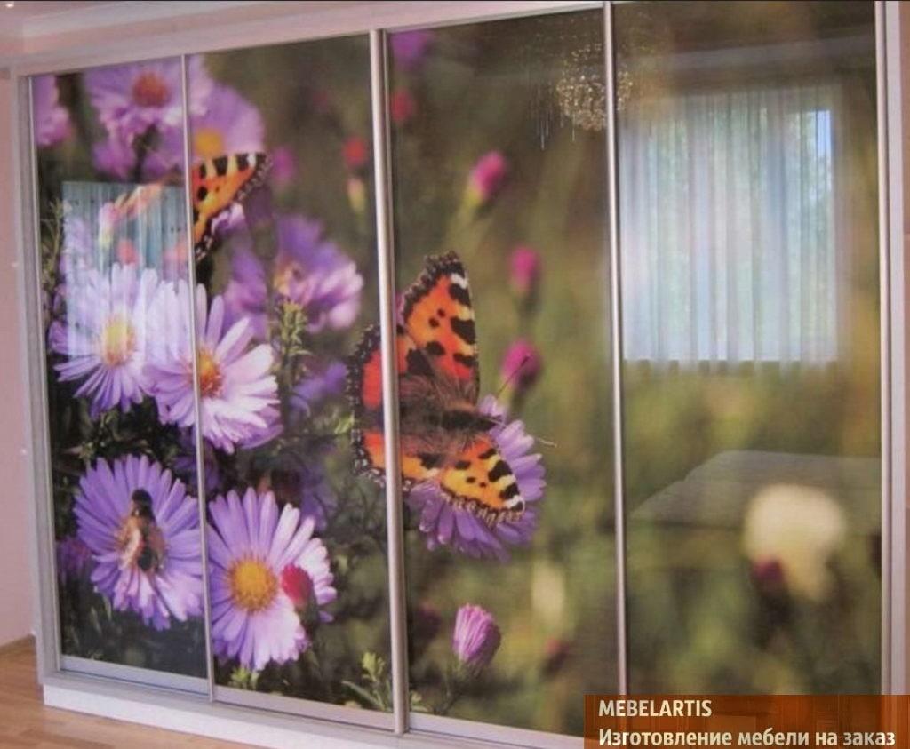 бабочки на дверях шкафа
