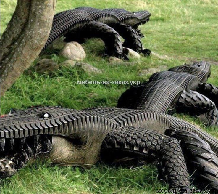 Крокодил из шины как сделать