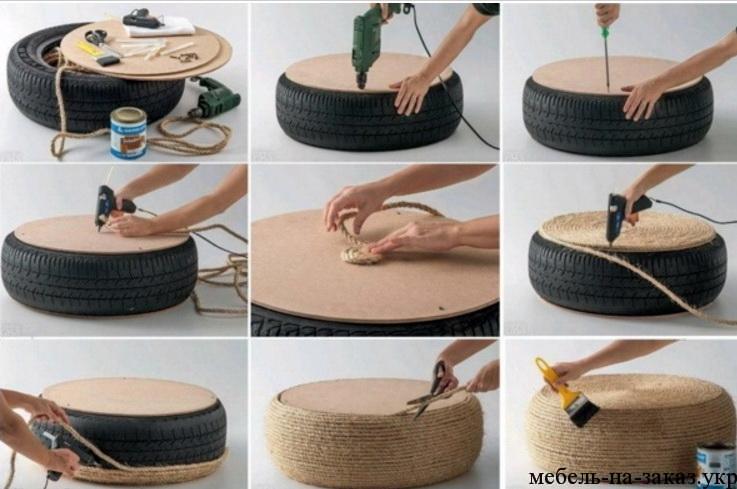 как сделать пуфик из авто шины