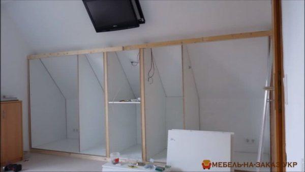 этапы изготовления шкафа в мансарду