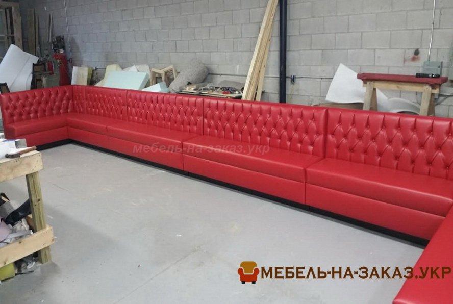 прямой красный диван для отелей