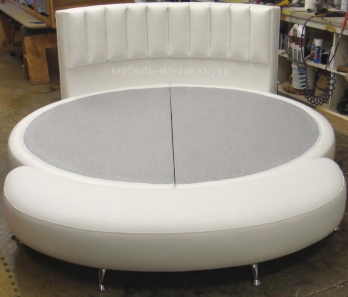 белая круглая кровать на заказ