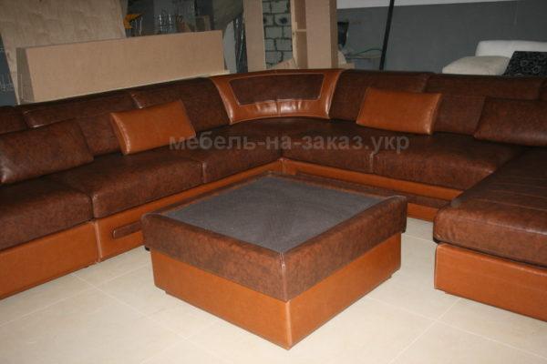 диван с пуфом угловой