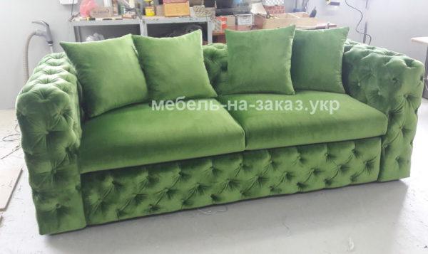 вельветовый зеленый диван