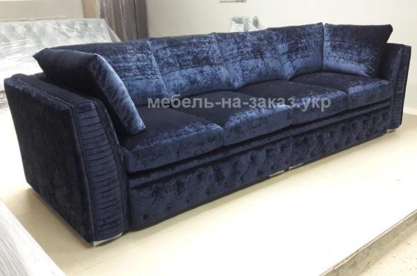 вельветовый синий диван