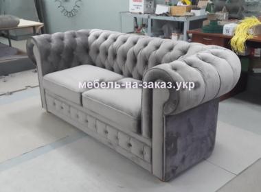прямой вельветовый серый диван