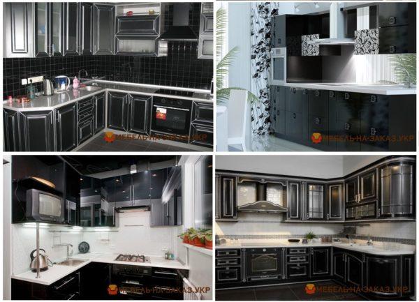 варианты черных кухонь на заказ