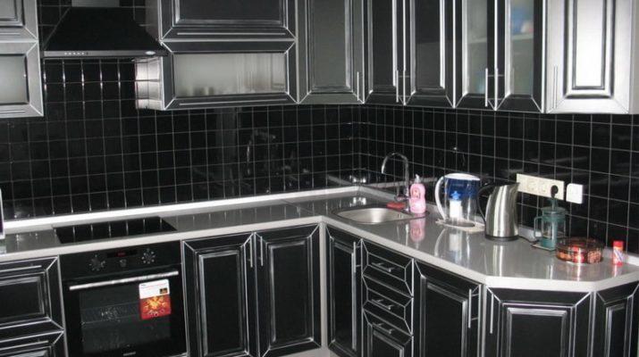 угловая кухня черного цвета на заказ