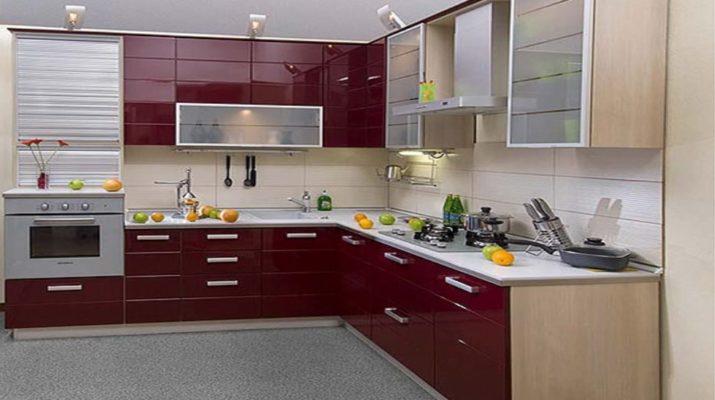 бордовая кухня мдф фасадом