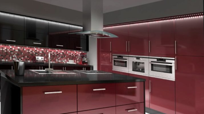 бордовая кухня модерн