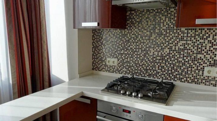красно белая кухня угловая