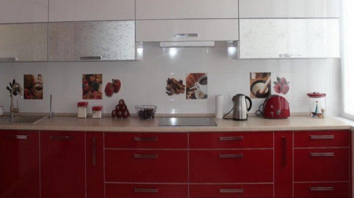 прямая красная белая кухня