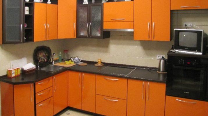 кухня оранжевого цвета под заказ в Борисполь