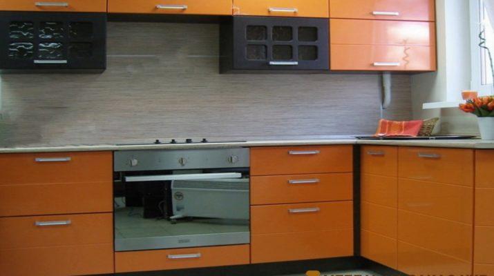 кухня оранжевого цвета под заказ Буча