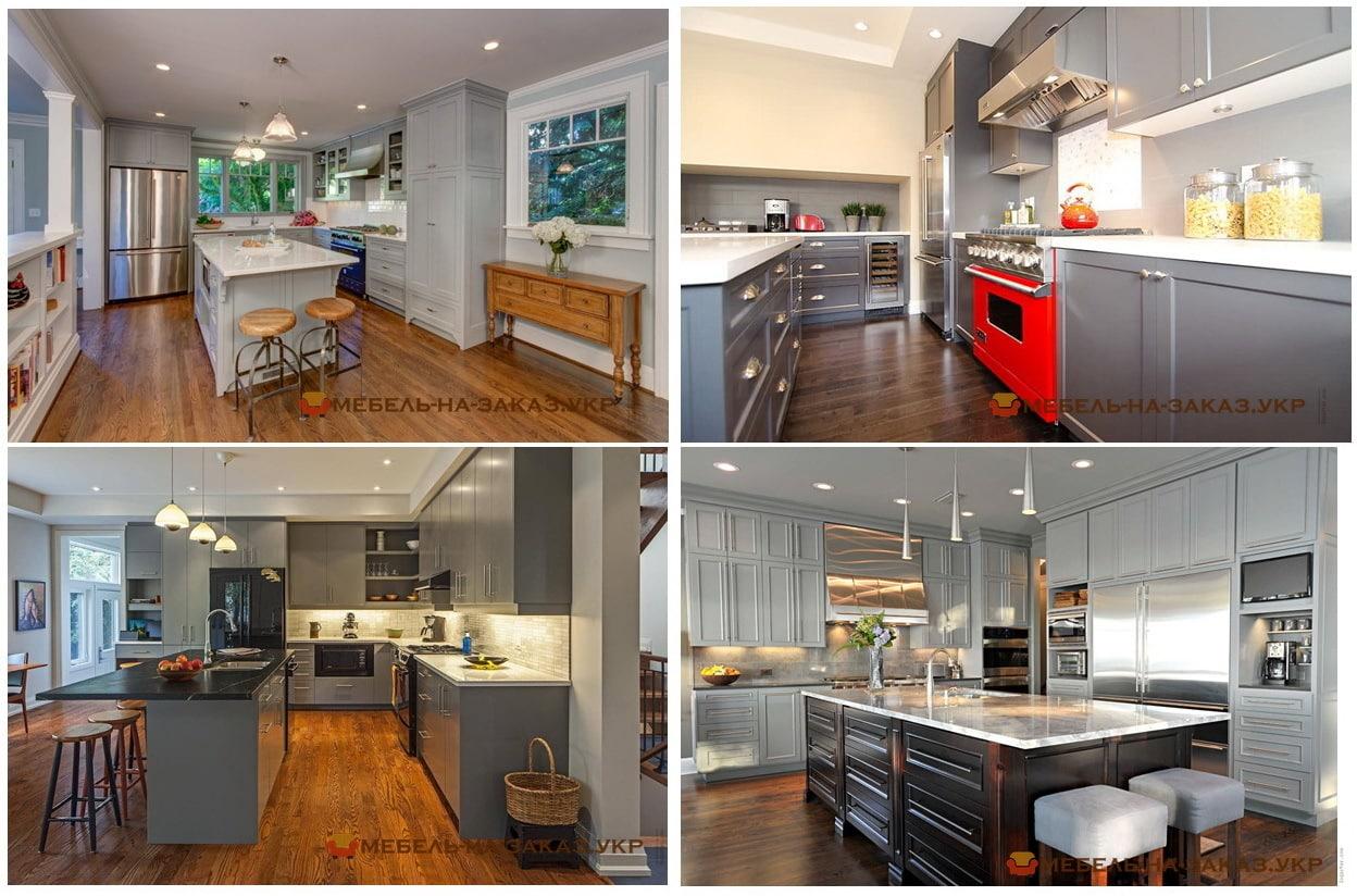 кухня серого цвета с кухонным островом
