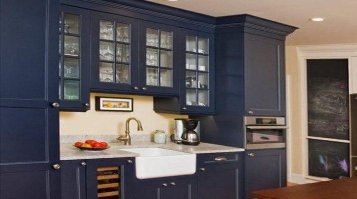 темно синяя кухня на заказ
