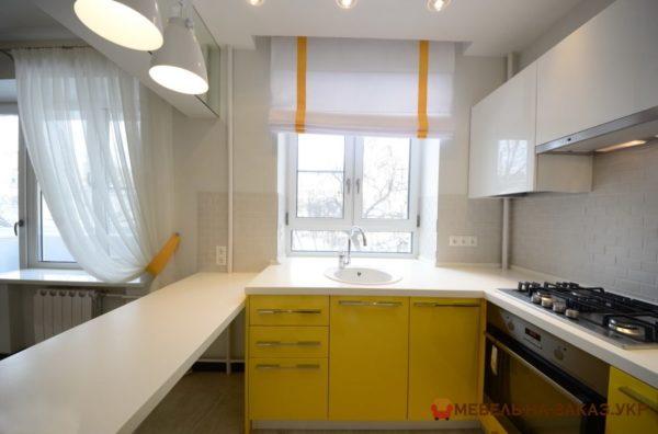 изготовление эконом кухни желтого цвета