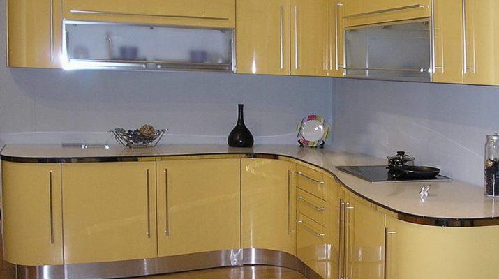 круглая кухня желтая мдф