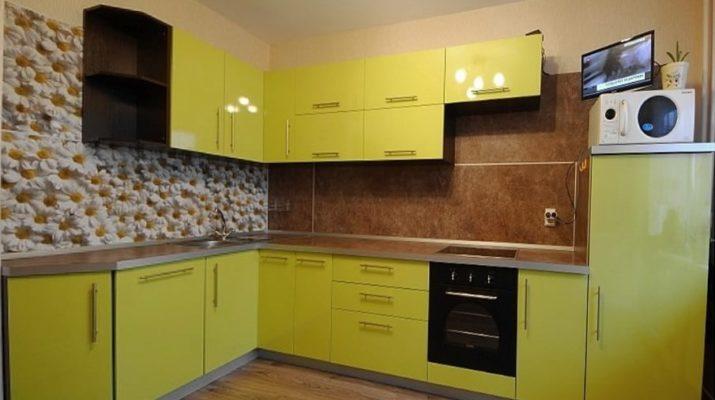 угловая желтая кухня мдф глянец на заказ