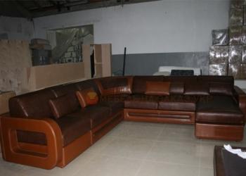 заказной кожаный диван формы п
