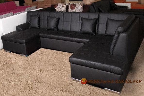 черный п образный диван кровать