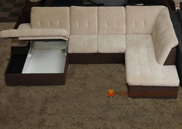 п образный диван с нишей для белья