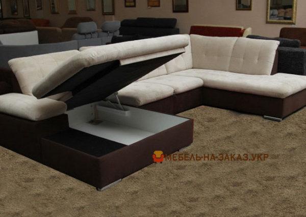 п образный диван с нишей для белья и спольным местом