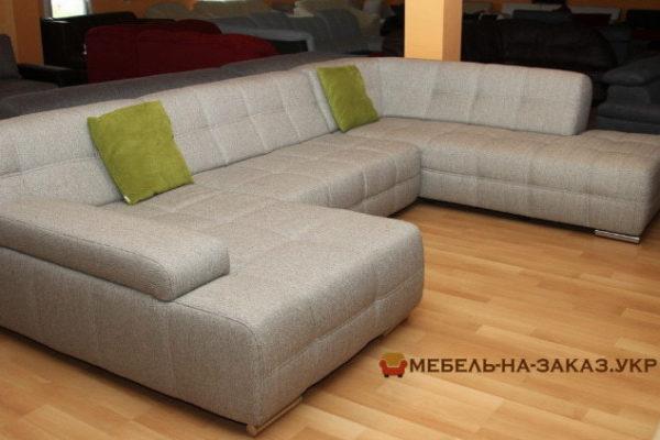 заказной белый диван формы подковы