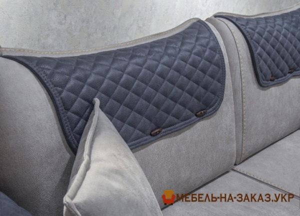 синий кожаный диван на заказ