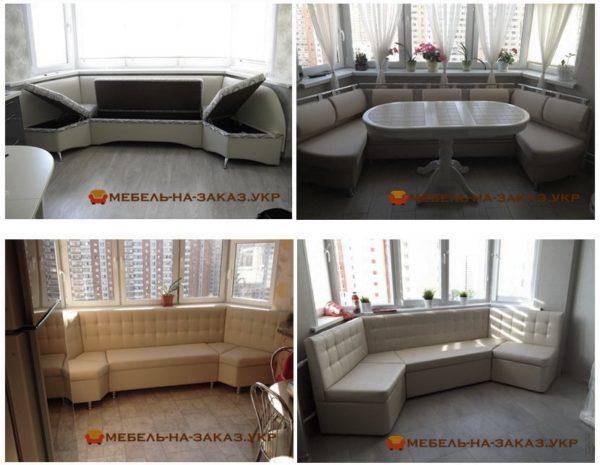 эркерный угловой диван для кухни на заказ