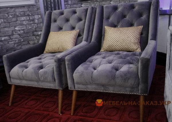 кресла голубые честер