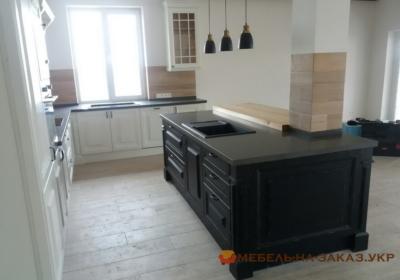 Черный Деревянный кухонный остров с мойкой на заказ