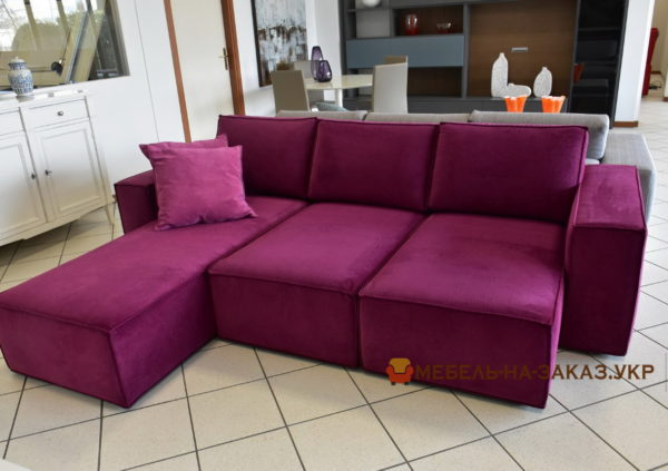 розовая модульная мягкая мебель для кухни