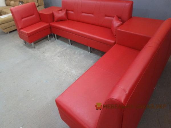 красный офисный модульный диван на заказ