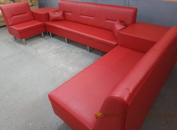 красный диван для салона на заказ