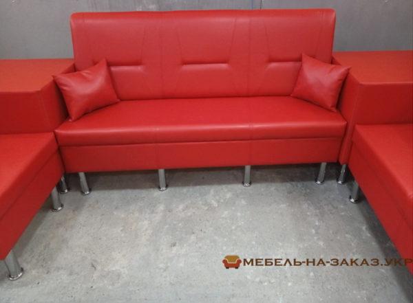 модульный красный диван для рецепции