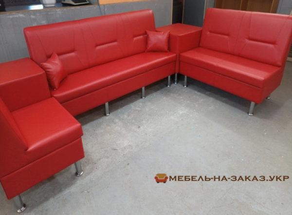 офисная модульная мягкая мебель красная на заказ