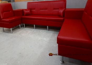 красный модульный п образный диван для офиса