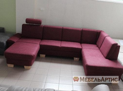 п образный малиновый офисный диван
