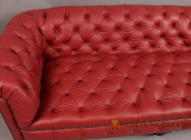 кожаный прямой диван честер красный