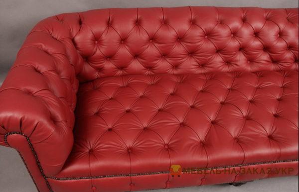 кожаный диван честер красный