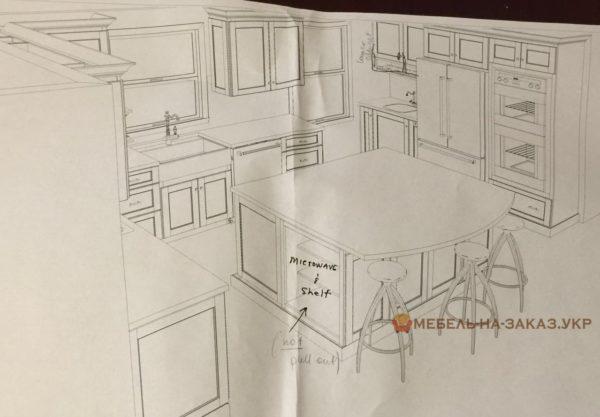 проект мебели для кухни на заказ